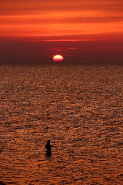 Angling Photograph - Angler In Summer Sunset by Heike Hultsch