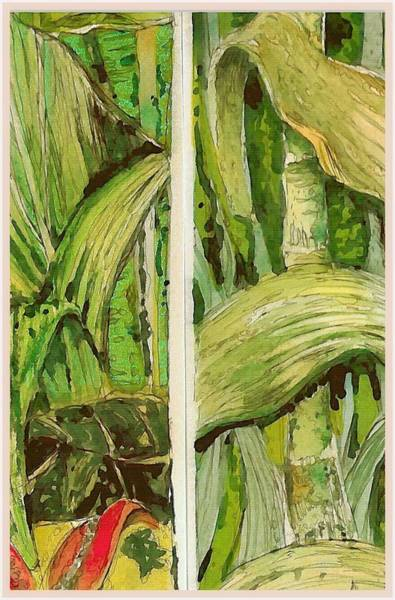 Tangle Painting - Angles In The Jungle by Mindy Newman