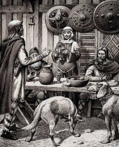Wall Art - Painting - Anglo Saxon Feast by Pat Nicolle