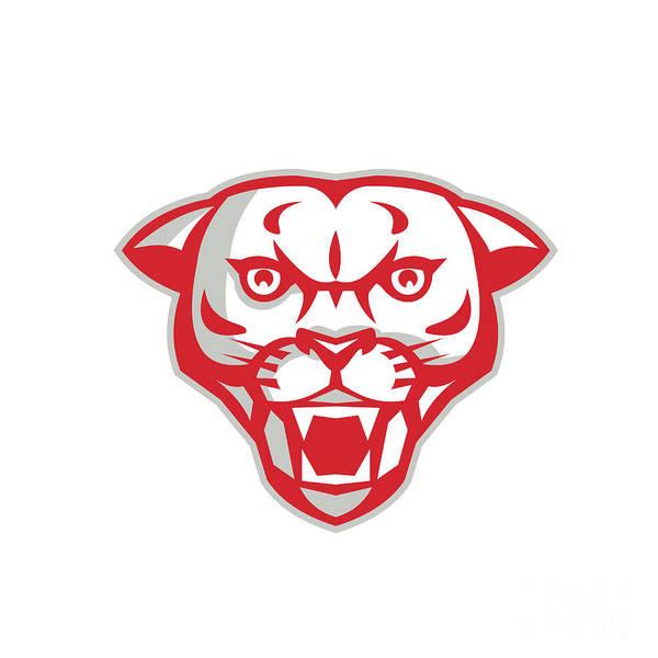 Mountain Lion Digital Art - Angry Cougar Mountain Lion Head Retro by Aloysius Patrimonio
