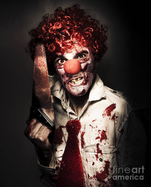 Dread Photograph - Angry Horror Clown Holding Butcher Saw In Darkness by Jorgo Photography - Wall Art Gallery