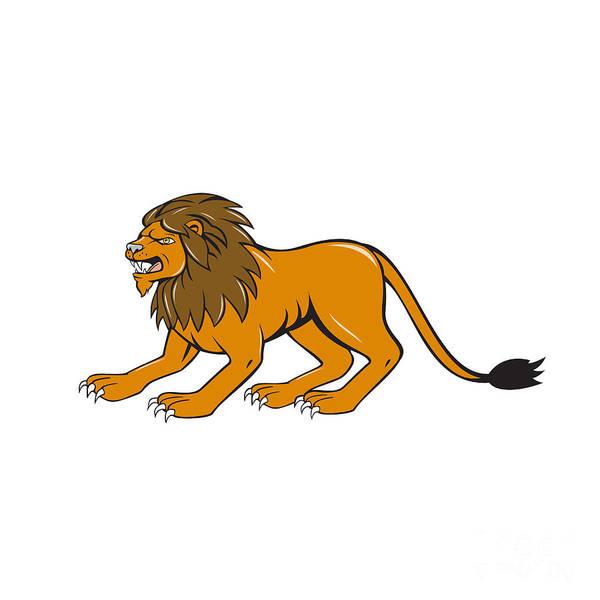 Crouching Digital Art - Angry Lion Crouching Side Cartoon by Aloysius Patrimonio