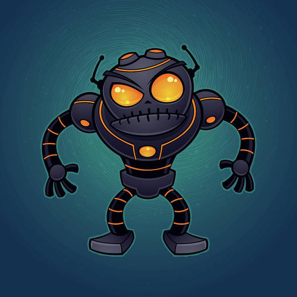 Intelligence Digital Art - Angry Robot by John Schwegel