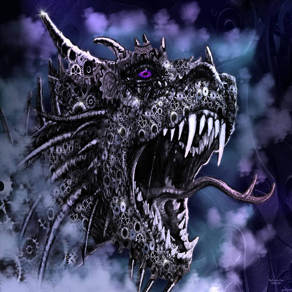 Digital Art - Angry Steampunk Dragon by Artful Oasis