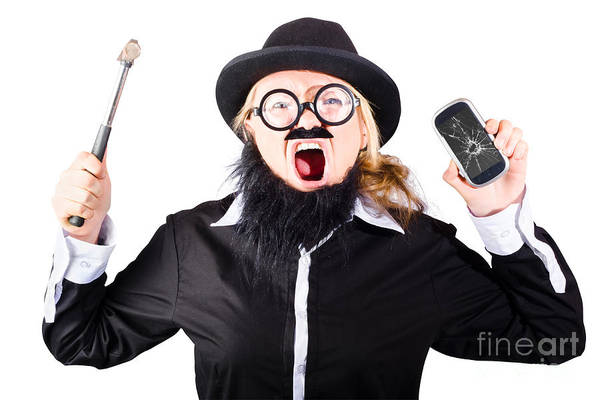 Mens Clothing Wall Art - Photograph - Angry Woman Breaking Mobie Phone by Jorgo Photography - Wall Art Gallery