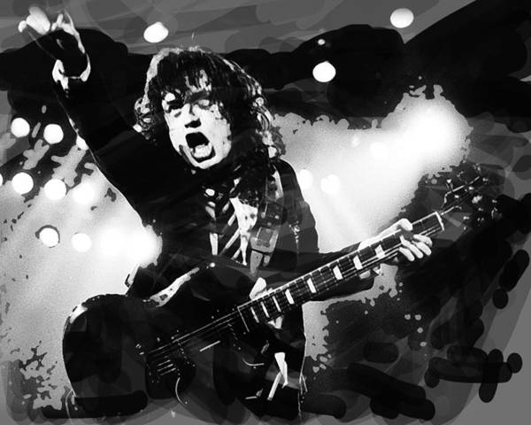 Blue Oyster Cult Wall Art - Mixed Media - Angus Young B And W  by Enki Art