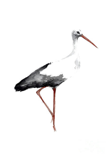 Stork Painting - Drawing, Animal Bird, Stork Art Print, Watercolor Poster, Bird Painting, Kids Room Decor by Joanna Szmerdt