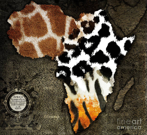 African Tiger Wall Art - Painting - Animal Fur Map Of Africa by Mindy Sommers