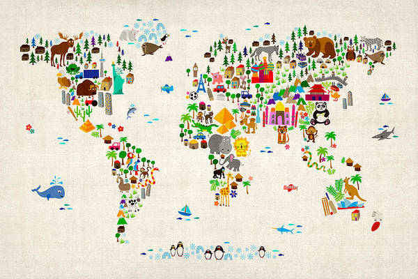 Wall Art - Digital Art - Animal Map Of The World For Children And Kids by Michael Tompsett