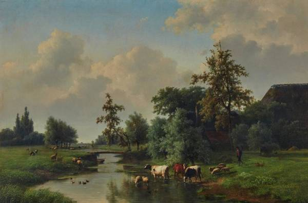 Eugene Joseph Verboeckhoven Painting - Animals By A Stream by Eugene Joseph