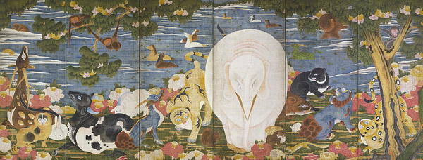 Wall Art - Painting - Animals In The Flower Garden Right Hand Screen Late 18th Century by Ito Jakuchu