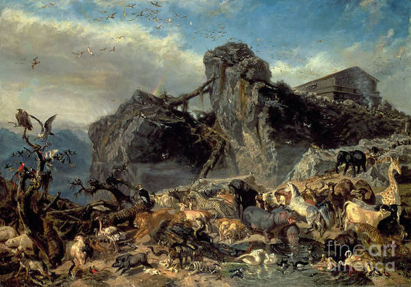 Noah Wall Art - Painting - Animals Leaving The Ark, Mount Ararat  by Filippo Palizzi