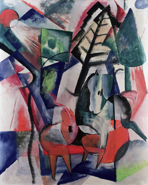 Franz Painting - Animals Under Trees by Franz Marc