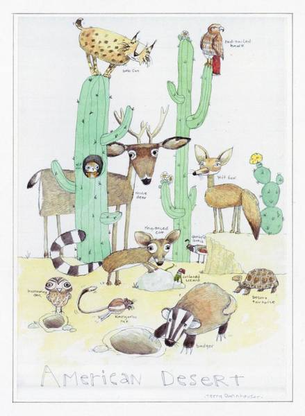 Desert Plant Photograph - Animals With Cacti In Desert - F by Gillham Studios