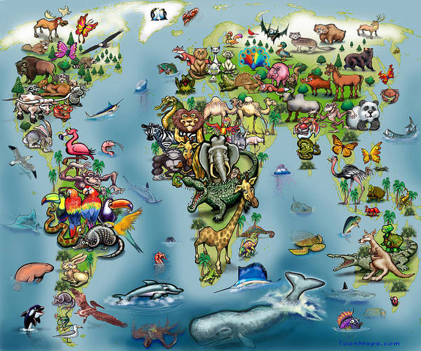 Digital Art - Animals World Map by Kevin Middleton