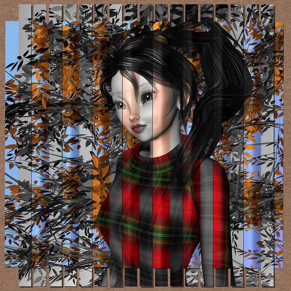 Digital Art - Anime Girl In Autumn by Judi Suni Hall