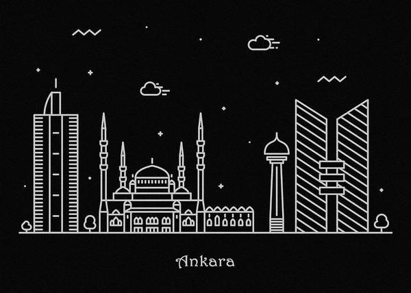 Turkiye Wall Art - Drawing - Ankara Skyline Travel Poster by Inspirowl Design