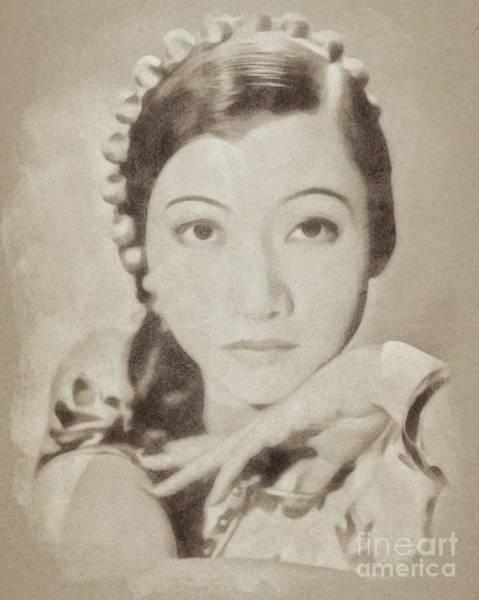 Pinewood Drawing - Ann May Wong, Vintage Actress By John Springfield by John Springfield