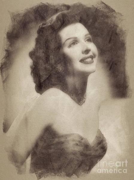 Pinewood Drawing - Ann Miller, Vintage Actress By John Springfield by John Springfield
