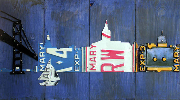 Maryland Mixed Media - Annapolis Maryland Skyline Vintage License Plate Art by Design Turnpike