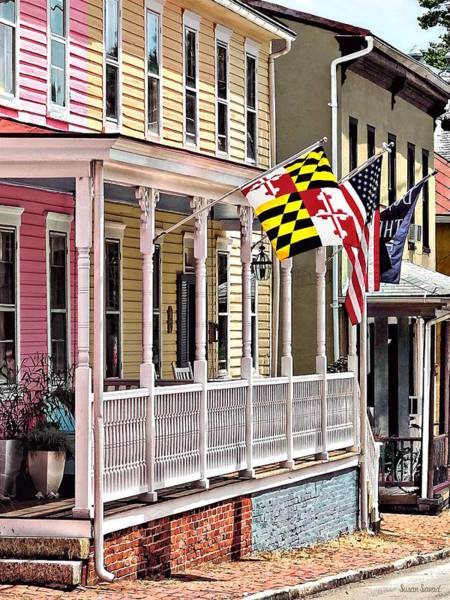 Photograph - Annapolis Md - Flags Along East Street by Susan Savad