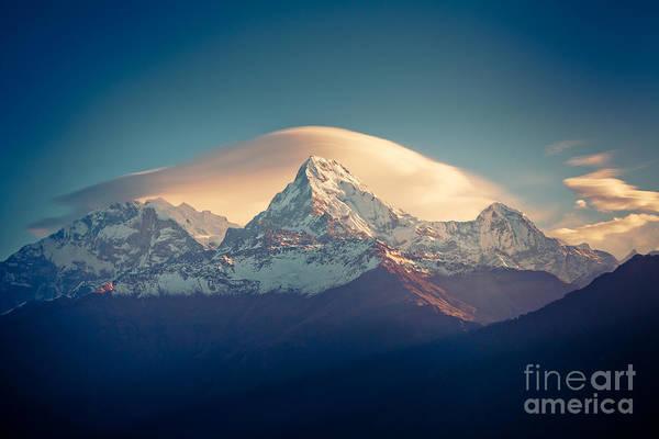 Photograph - Annapurna Sunrise Himalayas Mountain Artmif by Raimond Klavins