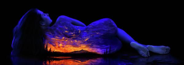Blacklight Painting - Anna's Sunset Lake by John Poppleton