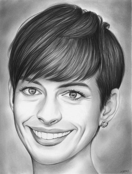 Actress Drawing - Anne Hathaway by Greg Joens