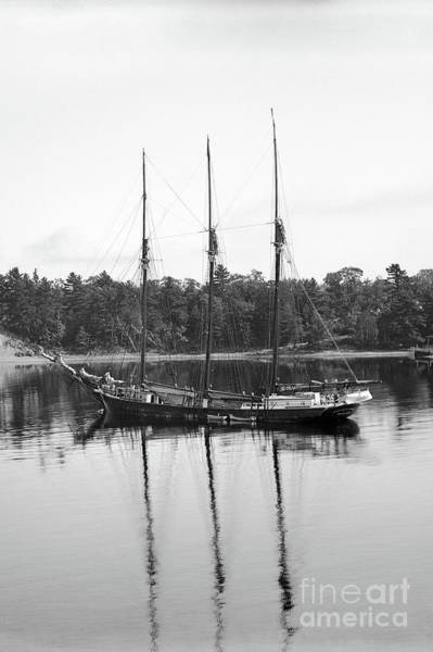 Photograph - Three-masted Schoonerannie F. Case, Bangor, Maine Circa 1900 by California Views Archives Mr Pat Hathaway Archives