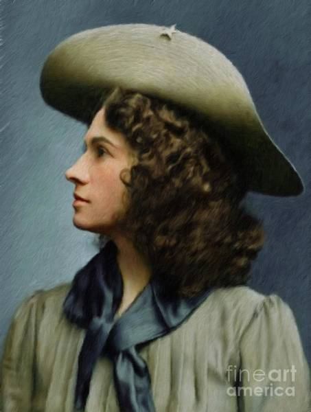 Sharpshooter Wall Art - Painting - Annie Oakley - Sharpshooter by Mary Bassett