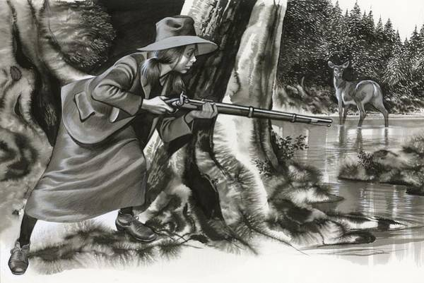Shooting Painting - Annie Oakley Shooting A Buck by Ron Embleton