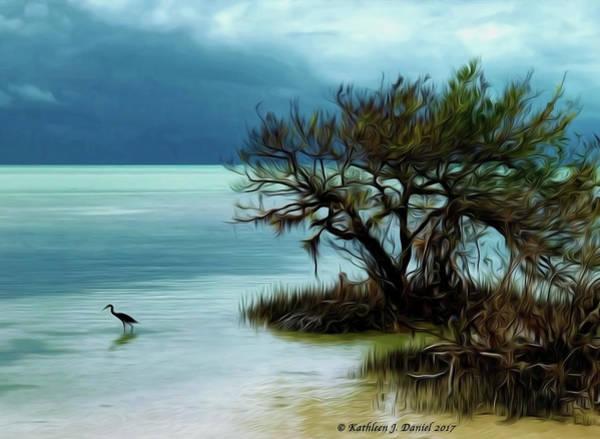 Heron Mixed Media - Annie's Beach  by Kathleen J Daniel