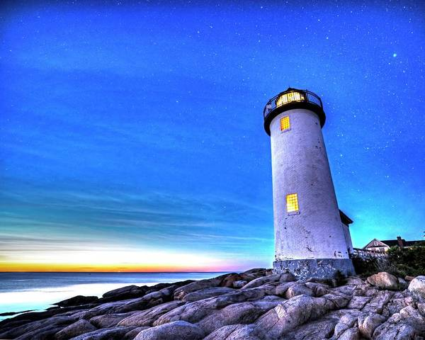 Photograph - Annisquam Lighthhouse Gloucester Ma Under The Starry Sky Sunset by Toby McGuire