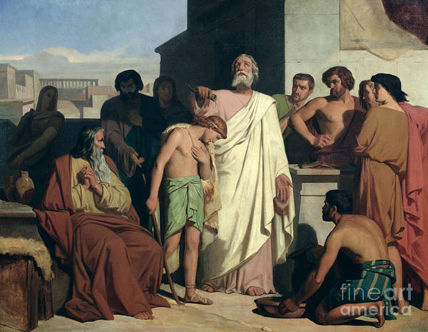 Hebrew Painting - Annointing Of David By Saul by Felix-Joseph Barrias