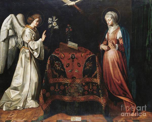 Gabriel Painting - Annunciation, Circa 1612  by Louis Finsonius or Finson
