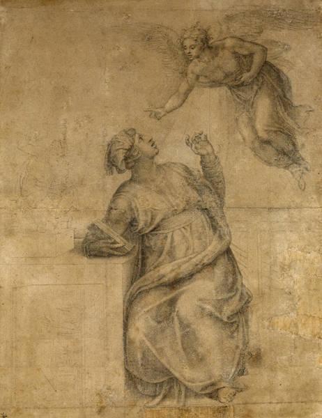 Buonarroti Wall Art - Drawing - Annunciation To The Virgin by Michelangelo di Lodovico Buonarroti Simoni
