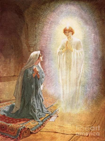 Kneeling Painting - Annunciation by William Brassey Hole