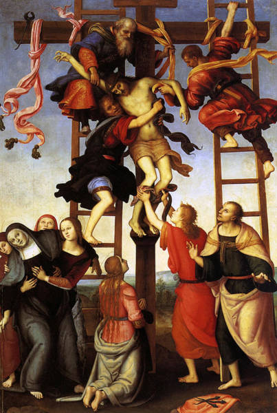 Redeemer Wall Art - Painting - Annunziata Polyptych, Deposition From The Cross by Pietro Perugino