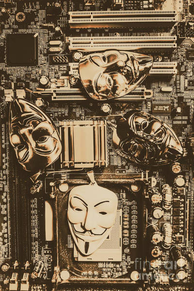 Anonymous Cyber Masks Art Print