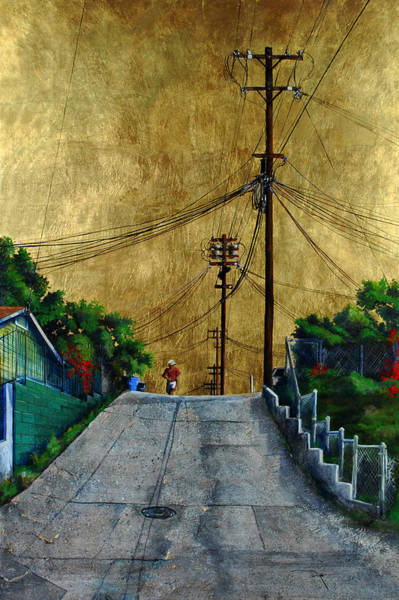 Utility Poles Painting - Another Mile Under A Golden Sky by Duke  Windsor