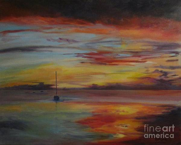 Impressionistic Sailboats Painting - Another Sunset At Crystal Beach by Barbara Moak