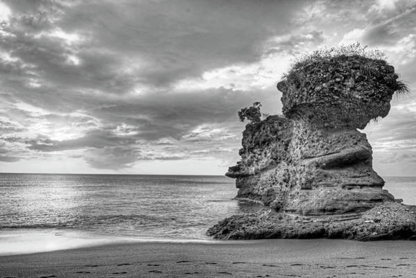 Photograph - Anse Mamin Rock Formation At Sunset Saint Lucia Caribbean Sunset Black And White by Toby McGuire