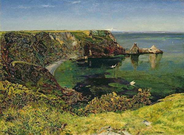 English Coast Wall Art - Painting - Anstey's Cove Devon by John William Inchbold