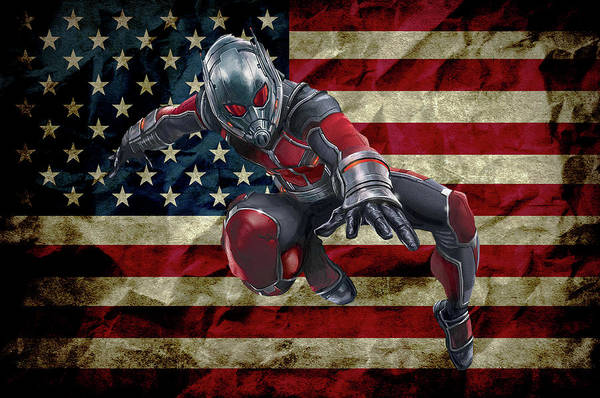 Ant Mixed Media - Ant Man - American Flag by Doc Braham