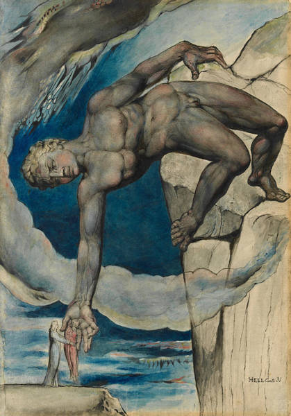 Painting - Antaeus Setting Down Dante And Virgil In The Last Circle Of Hell by William Blake