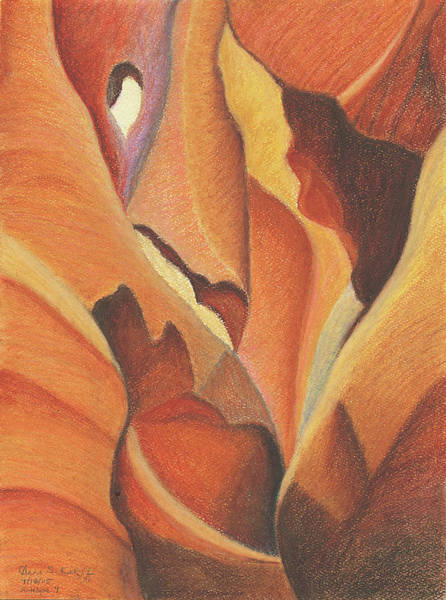 Pastel - Antelope Canyon 4 - For Gloria by Anne Katzeff