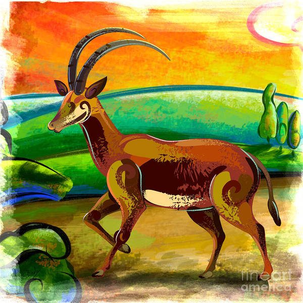 Wall Art - Painting - Antelope Of The Valley by Peter Awax