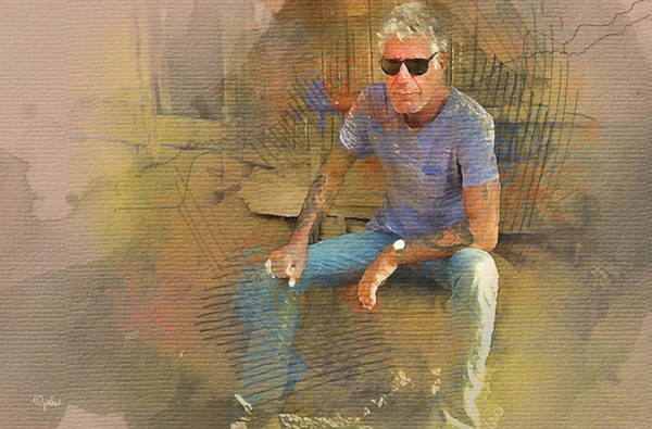 Digital Art - Anthony Bourdain 2 by Paulette B Wright