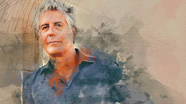 Digital Art - Anthony Bourdain by Paulette B Wright