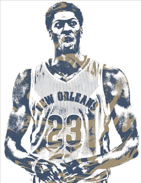 Pelican Mixed Media - Anthony Davis New Orleans Pelicans Pixel Art 20 by Joe Hamilton
